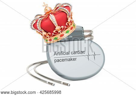 Artificial Cardiac Pacemaker With Golden Crown, 3d Rendering Isolated On White Background