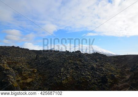Beautiful Lava Rock Field With Snow Capped Mountains In Iceland.