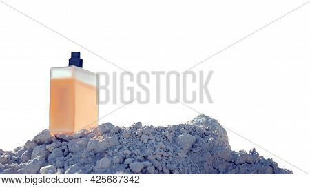 Male Perfume Bottle Isolated On White Background. Toilet Water On A White Mountain With A White Back