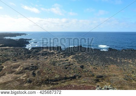 Beautiful Lava Rock Coastal View In Rural And Remote Iceland.