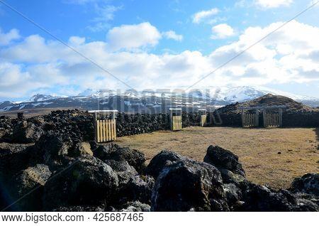 Lava Rock Animal Pen In Rural Iceland.