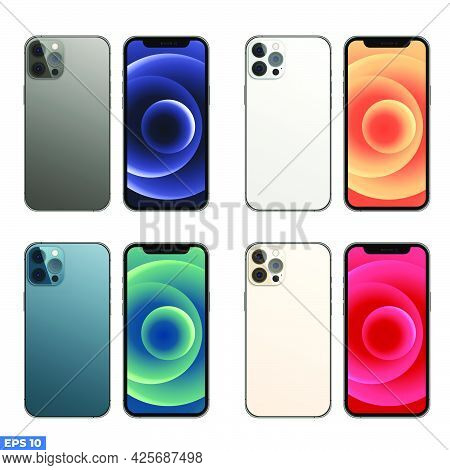 Magelang, Indonesia - July 03, 2021: New Iphone 12 Pro Or Pro Max In Four Colors (graphite, Pacific