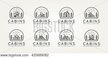 Set Of Wooden Cabin Minimalist Minimalist Line Art Icon Logo Template Vector Design Illustration. Si