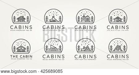 Set Of Cabins Minimalist Minimalist Line Art Icon Logo Template Vector Design Illustration. Simple M