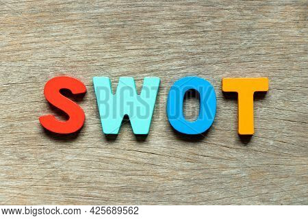 Color Alphabet Letter In Word Swot (abbreviation Of Strength, Weakness, Opportunities, Threats) On W