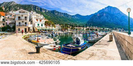 Scenic Adriatic coast of Croatia - picturesque Gradac coastal town and popualr touristic place in Dalmatia. Croatia , september2019