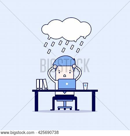 Businessman Strain With Rain Cloud On His Head. Cartoon Character Thin Line Style Vector.