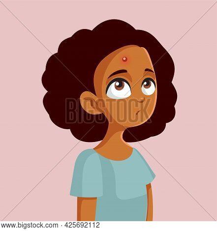 African Teen Girl Having A Pimple Vector Illustration