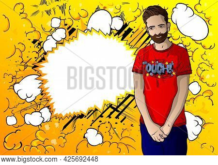 Portrait Of Shy Modest Handsome Young Man Shrug Shoulders Over Comics Color Background. Comic Book S