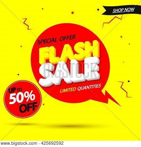 Flash Sale 50% Off,  Poster Design Template, Discount Banner For Online Shop