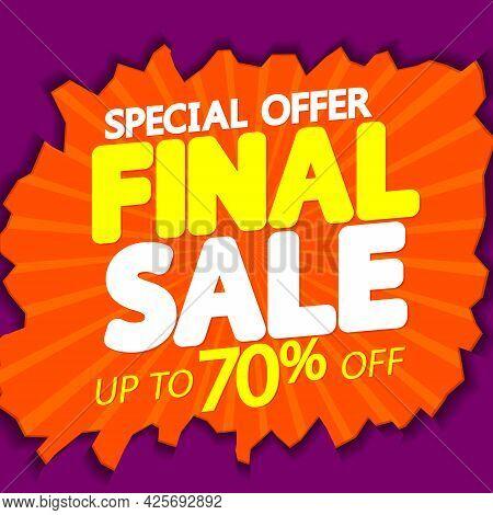 Sale 70% Off, Poster Design Template. Promotion Banner For Shop Or Online Store.