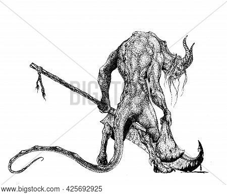 A Horned Demon Stands Half-turned With A Sack And A Huge Rusty Swor