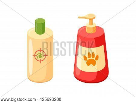 Pet Shampoo And Cosmetics Bottles. Shampoo For Grooming Of Cats And Dogs. Vector Illustration In Cut