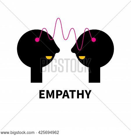 Conversation Logo. Empathy Abstract Icon With Wave And Two Profiles. Psychology Sign. Therapy Symbol