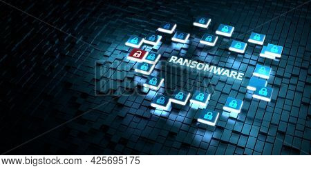 Cyber Security Data Protection Business Technology Privacy Concept. Ransomware 3d Illustration