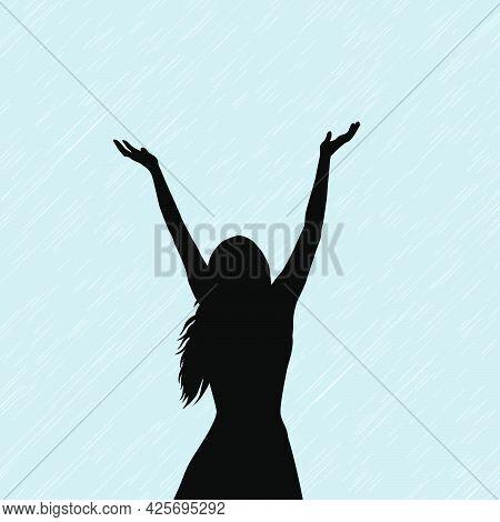 Silhouette Of A Woman Hwo Enjoy The Rain