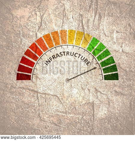 Infrastructure Level Meter. Economy And Financial Concept
