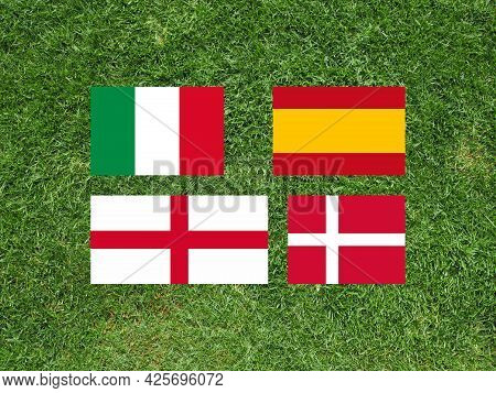 Flags European Championship Finalists Italy, Spain, England And Denmark Over Football Playing Field