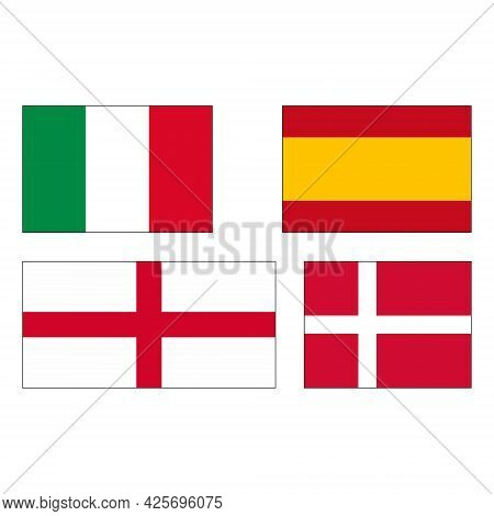 Flags European Championship Finalists Italy, Spain, England And Denmark