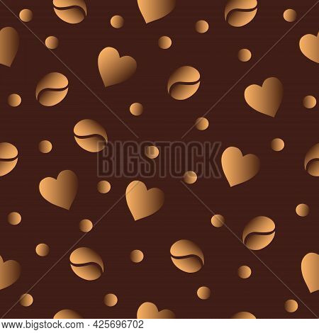 Laconic Seamless Vector Pattern With Scattered Dusty Gold Coffee Beans And Hearts On A Rich Dark Cho