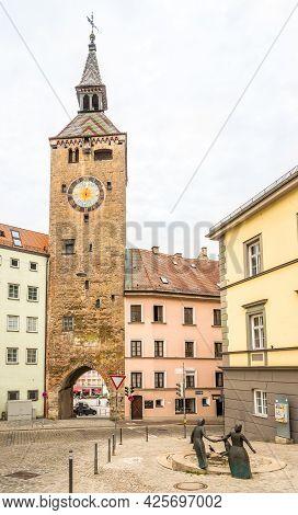 Landsberg Am Lech,germany - June 20,2021 - View At The Schmalzturm Tower Of Landsberg Am Lech. Lands