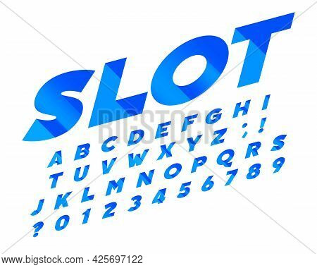 Slot Alphabet Font. Isometric Letters And Numbers On White. Stock Vector Typescript For Your Typogra