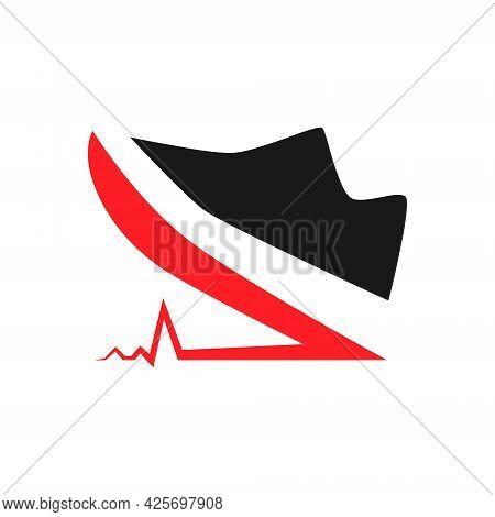 Cardio Sports Running Shoe Symbol On White Backdrop. Design Element