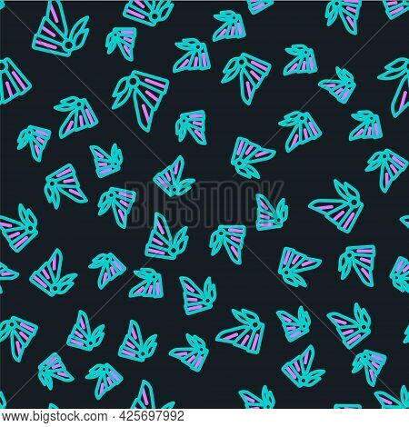 Line Bandana Or Biker Scarf Icon Isolated Seamless Pattern On Black Background. Vector