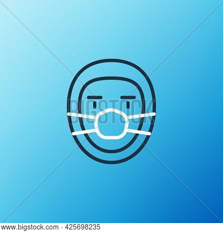 Line Doctor Pathologist Icon Isolated On Blue Background. Colorful Outline Concept. Vector