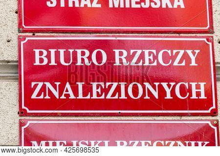 Gorzow Wielkopolski, Poland - June 1, 2021: Sign Lost-and-found Office (polish: Biuro Rzeczy Znalezi