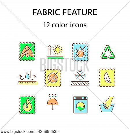 Fabric Feature Flat Icon. Material Quality. Fiber Type. Textile Industry. Thermal Insulated Fiber. A