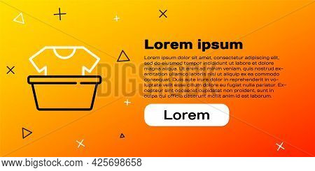 Line Plastic Basin With Shirt Icon Isolated On Yellow Background. Bowl With Water. Washing Clothes,