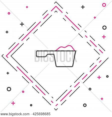 Line Washing Powder In A Measuring Cup Icon Isolated On White Background. Colorful Outline Concept.