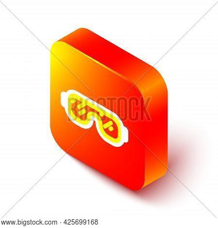 Isometric Line Ski Goggles Icon Isolated On White Background. Extreme Sport. Sport Equipment. Orange
