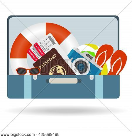A Tourist's Suitcase, A Traveler's Suitcase With Things. Vector, Cartoon Illustration. Vector.