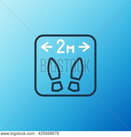 Line Safe Distance Icon Isolated On Blue Background. Viruses And People Keeping Distance For Infecti