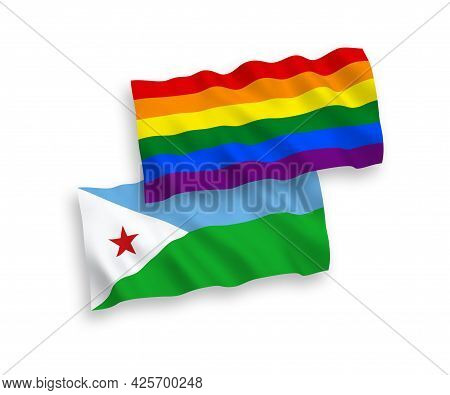 National Fabric Wave Flags Of Republic Of Djibouti And Rainbow Gay Pride Isolated On White Backgroun