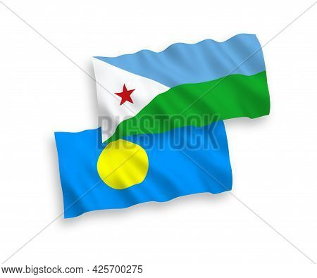 National Fabric Wave Flags Of Republic Of Djibouti And Palau Isolated On White Background. 1 To 2 Pr