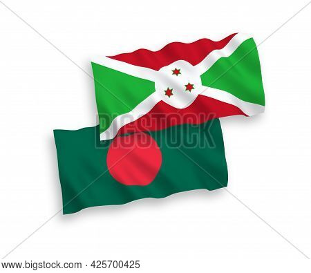 National Fabric Wave Flags Of Burundi And Bangladesh Isolated On White Background. 1 To 2 Proportion