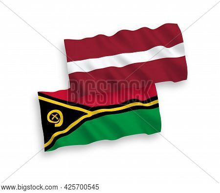 National Fabric Wave Flags Of Latvia And Republic Of Vanuatu Isolated On White Background. 1 To 2 Pr