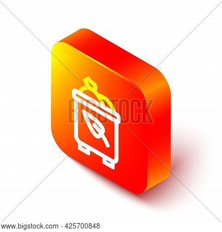 Isometric Line Recycle Bin With Recycle Symbol Icon Isolated On White Background. Trash Can Icon. Ga
