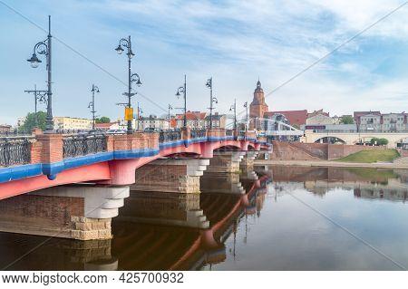 Gorzow Wielkopolski, Poland - June 1, 2021: Staromiejski Bridge And Old Town Of Gorzow Wielkopolski