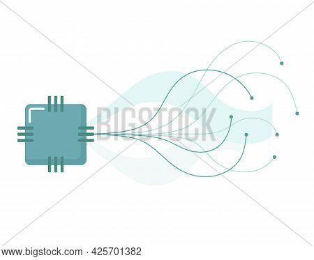 Artificial Intelligence, Nanotechnology. Vector Concept Of Artificial Intelligence, Neural Network.