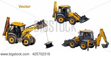 Universal Tractor For Earthmoving, Handling, Construction Work With Two Buckets. Backhoe Loader Perf