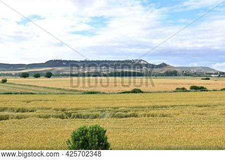 Viewpoint Of The Plain Of The Pisuerga River. Cereal Fields Of Castilla Y Leon, Spain.