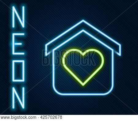 Glowing Neon Line Shelter For Homeless Icon Isolated On Black Background. Emergency Housing, Tempora