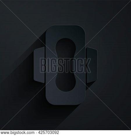 Paper Cut Menstruation And Sanitary Napkin Icon Isolated On Black Background. Feminine Hygiene Produ