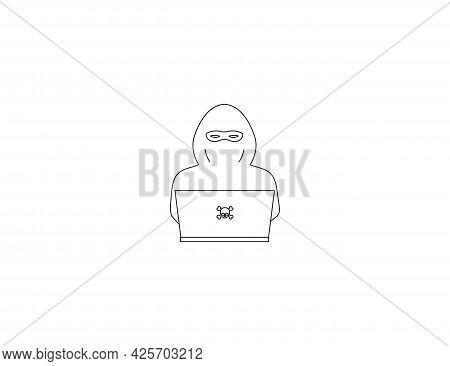 Criminal, Robber, Internet Icon. Vector Illustration. Flat Design.