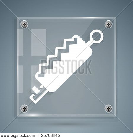 White Trap Hunting Icon Isolated On Grey Background. Square Glass Panels. Vector