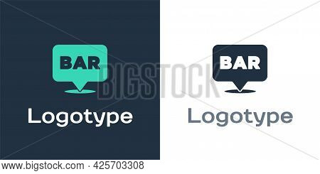 Logotype Alcohol Or Beer Bar Location Icon Isolated On White Background. Symbol Of Drinking, Pub, Cl